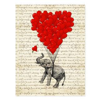Romantic elephant & heart balloons postcard
