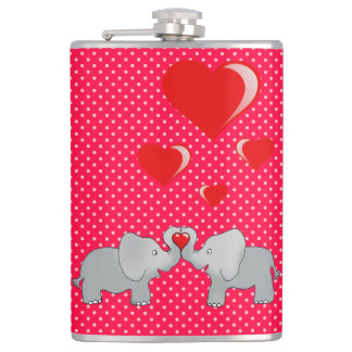 Romantic Elephants & Red Hearts On Polka Dots Flask