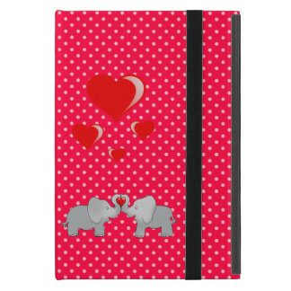 Romantic Elephants & Red Hearts On Polka Dots iPad Mini Cover