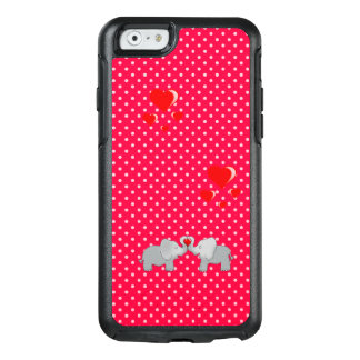 Romantic Elephants & Red Hearts On Polka Dots OtterBox iPhone 6/6s Case
