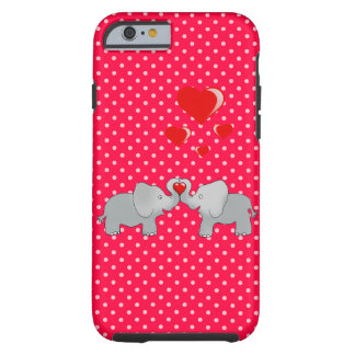 Romantic Elephants & Red Hearts On Polka Dots Tough iPhone 6 Case