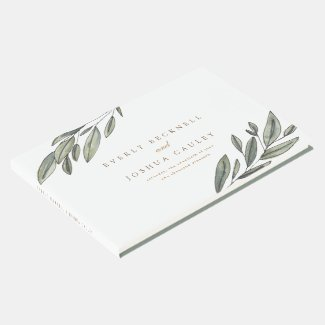 Romantic Evergreen Botanical Wedding Guest Book
