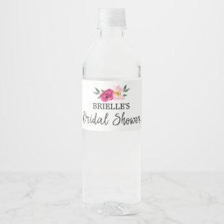 Romantic Fairytale Blossom Bouquet Bridal Shower Water Bottle Label