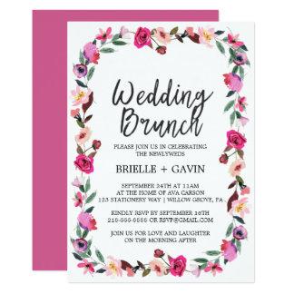 Romantic Fairytale Blossom Wreath Wedding Brunch Card