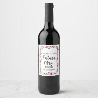 Romantic Fairytale Wreath Future Mrs Bridal Shower Wine Label