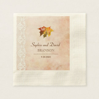 Romantic Fall in Love Wedding Disposable Napkins