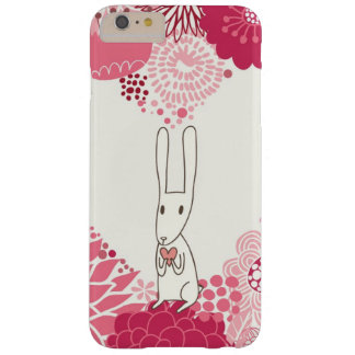 Romantic floral background with cute rabbit barely there iPhone 6 plus case