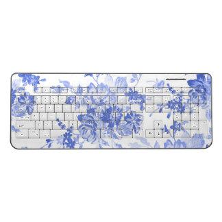Romantic Floral Blue Retro Old Watercolor Wireless Keyboard