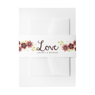 Romantic Floral Bouquet Love Wedding Belly Band Invitation Belly Band