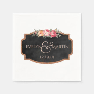 Romantic Floral Chalkboard Wedding Monogram Paper Napkins