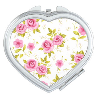 Romantic Floral Flowers Roses Pink White Pattern Makeup Mirror