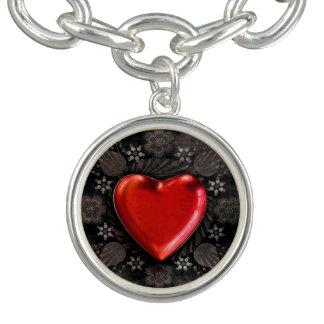 Romantic Floral Heart Valentine Love Charm Bracelet
