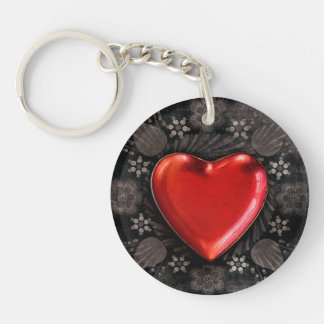 Romantic Floral Heart Valentine Love Keychain