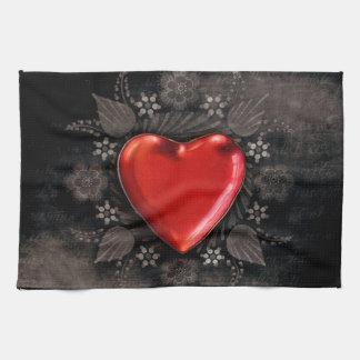 Romantic Floral Heart Valentine Love Kitchen Towel