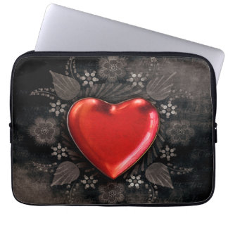 Romantic Floral Heart Valentine Love Laptop Sleeve