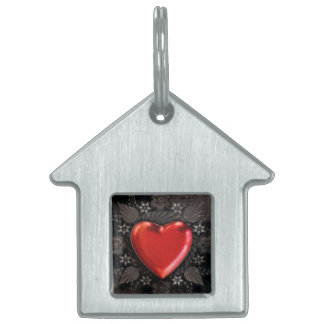 Romantic Floral Heart Valentine Love Pet ID Tags