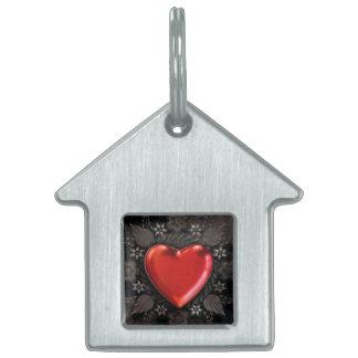 Romantic Floral Heart Valentine Love Pet Name Tag