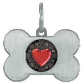 Romantic Floral Heart Valentine Love Pet Tags