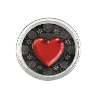 Romantic Floral Heart Valentine Love Photo Rings