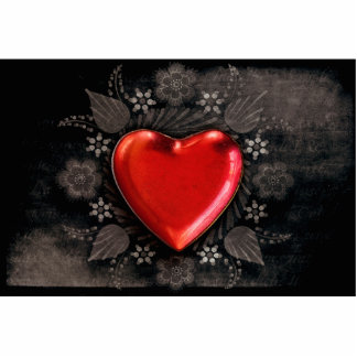 Romantic Floral Heart Valentine Love Photo Sculpture Button