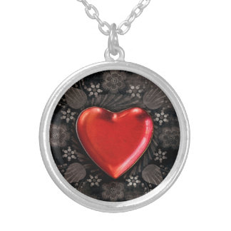 Romantic Floral Heart Valentine Love Silver Plated Necklace