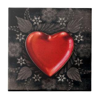 Romantic Floral Heart Valentine Love Tile