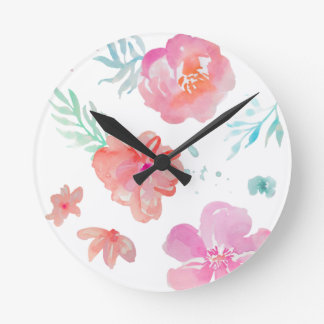 Romantic Floral Pink Watercolor Cool & Elegant for Round Clock
