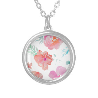 Romantic Floral Pink Watercolor Cool & Elegant for Silver Plated Necklace