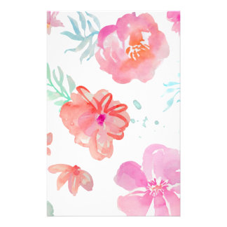Romantic Floral Pink Watercolor Cool & Elegant for Stationery