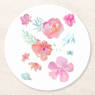 Romantic Floral Pink Watercolor Cool & Elegant Round Paper Coaster