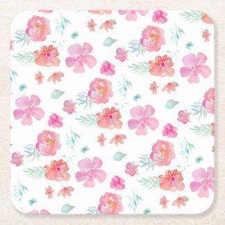 Romantic Floral Pink Watercolor Cool & Elegant Square Paper Coaster
