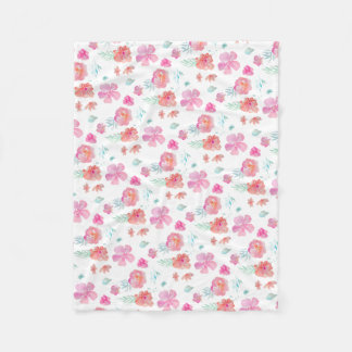 Romantic Floral Pink Watercolor Flowers Fleece Blanket