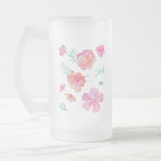 Romantic Floral Pink Watercolor Flowers Frosted Glass Beer Mug