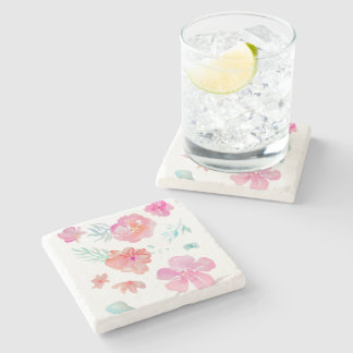 Romantic Floral Pink Watercolor Flowers Stone Coaster