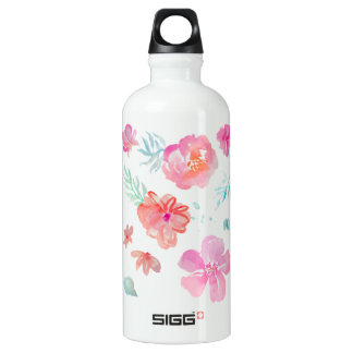 Romantic Floral Pink Watercolor Flowers Water Bottle