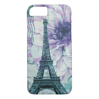 romantic floral postmark paris eiffel tower Case-Mate iPhone case
