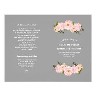 Romantic Floral Watercolor Folded Wedding Programs