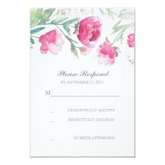 "romantic floral watercolor peonies wedding RSVP 3.5"" X 5"" Invitation Card"