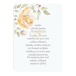 "Romantic Floral Watercolor Wedding Initiations 5"" X 7"" Invitation Card"