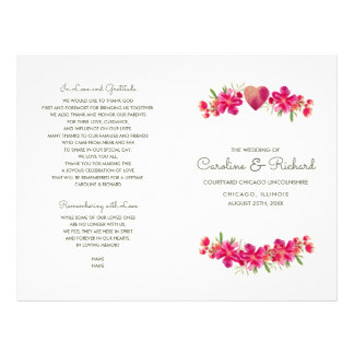 Romantic Floral Watercolor Wedding Programs