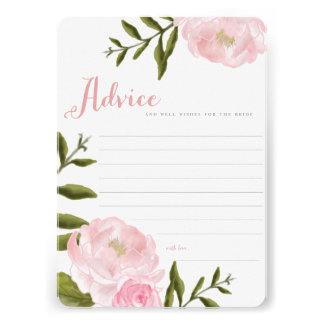 Romantic Floral Wedding Advice Cards