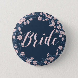 Romantic Floral Wedding Buttons Pink Wreath Bride