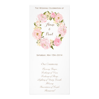 Romantic floral wreath monogram program customized rack card