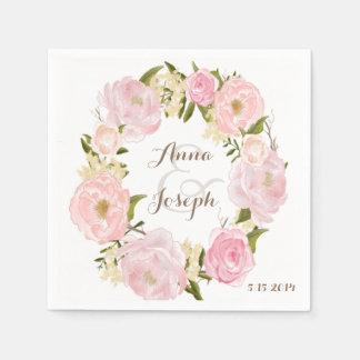 Romantic Floral Wreath Wedding Napkin Disposable Napkins