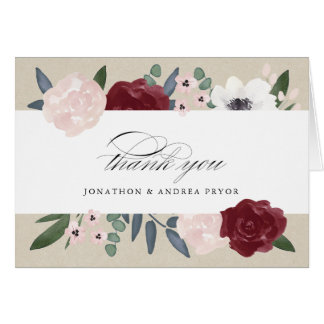 Romantic Florals Thank You Card