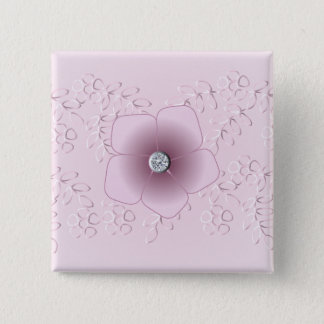Romantic flower and lace design 2 inch square button