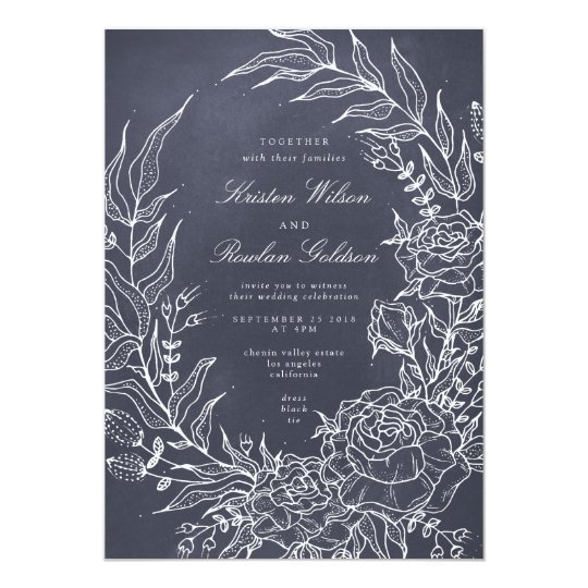 Romantic Flower Wreath Grey Wedding Invitation