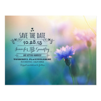 romantic flowers cute save the date postcards