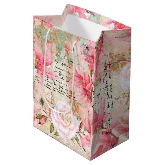 Romantic Flowers & Handwritten Letter Wallpaper Medium Gift Bag