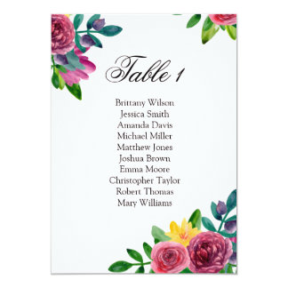 Romantic flowers wedding seating chart. Table plan Card